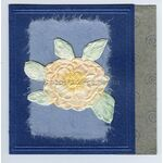 Card using embossed paper hand cut flower