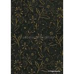 Embossed Bloom Black and Antique Gold Matte A4 handmade paper aka Paperglitz Spring