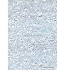 Embossed Bloom Ice Blue Pearlescent A4 handmade paper aka Paperglitz Spring