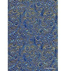 Embossed Foil Blue Foil on Yellow Matte Cotton A4 handmade recycled paper aka Paperglitz Tuscany