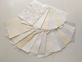Embossed Matte and Pearl White, Off White, Ivory A4 handmade papers