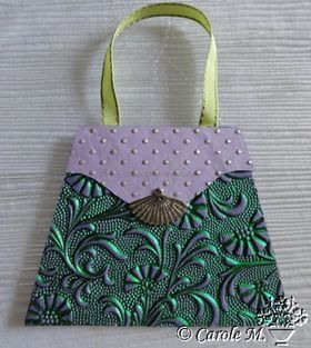 Embossed Foil handbag using Green Foil on Purple Matte Cotton A4 handmade recycled paper aka Paperglitz Tuscany