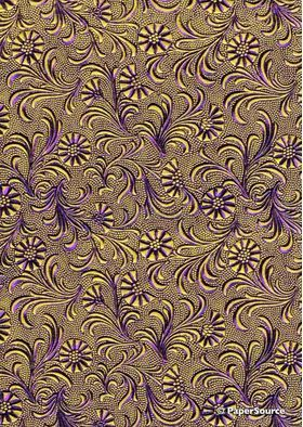 Embossed Foil Purple Foil on Yellow Matte Cotton A4 handmade recycled paper aka Tuscany