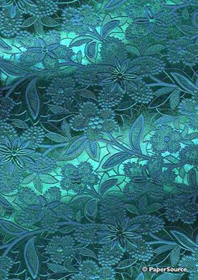 Embossed Foil Turquoise Foil on Aqua Blue Matte Cotton A4 handmade recycled paper curled aka Paperglitz Spring