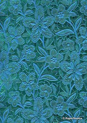 Embossed Foil Turquoise Foil on Aqua Blue Matte Cotton A4 handmade recycled paper aka Paperglitz Spring