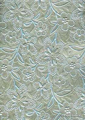 Embossed Foil Silver Foil on Pastell Blue Pearlescent Cotton A4 handmade recycled paper aka Paperglitz Spring