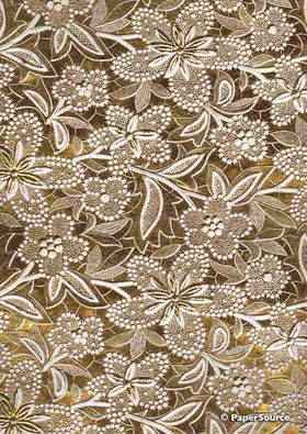 Embossed Foil Gold Foil on White Matte Cotton A4 handmade recycled paper aka Paperglitz Spring